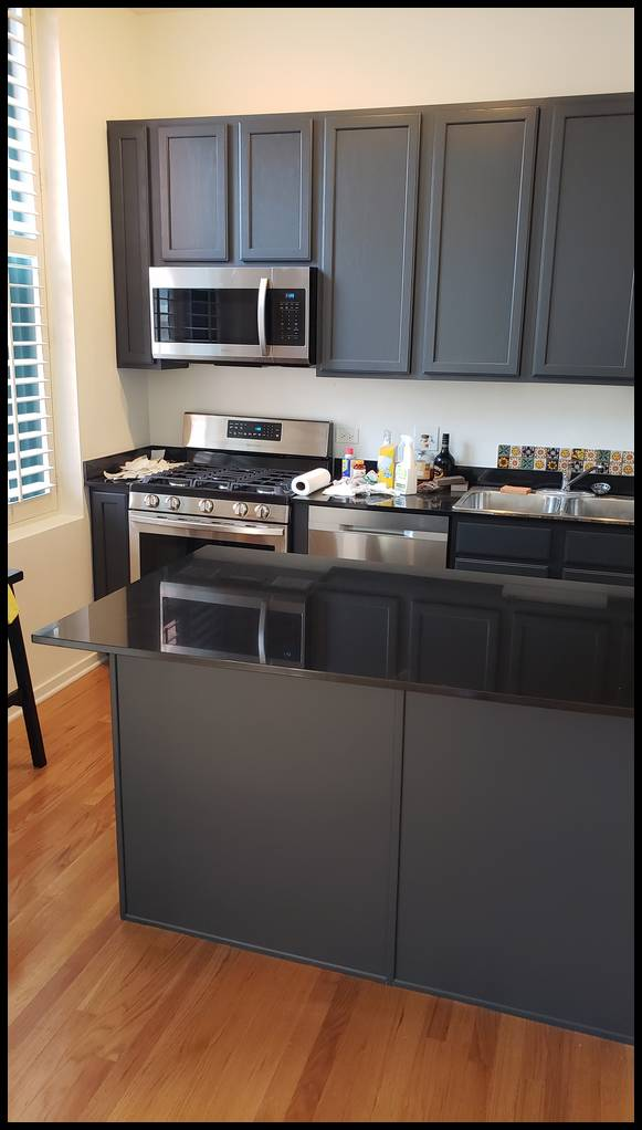Kitchen cabinets: one coat of primer and three coats of urethane enamel. Color dark gray. Painting contractor. West Loop. Wicker park. Downtown. West Town