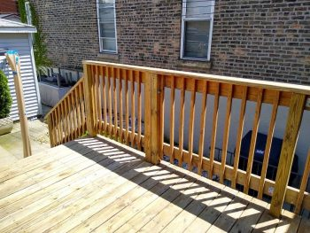 Logan Square Chicago deck refinishing. Back Porch. Chicago painter. Painitng contractor.